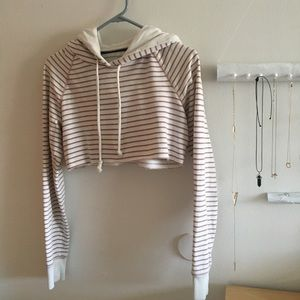 Cropped American Eagle (Pink/White/Brown) Hoodie